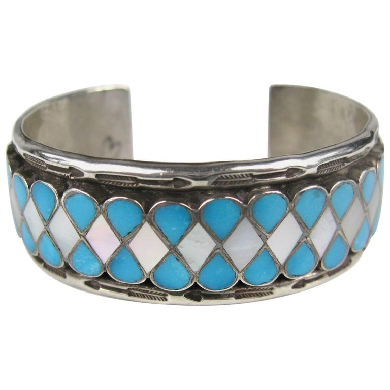 Zuni Teardrop Inlaid Sterling Silver Turquoise Mother Of Pearl Cuff Bracelet For
