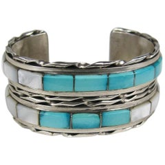 Native American Zuni Sterling Silver Mother of Pearl & Turquoise Cuff Bracelet