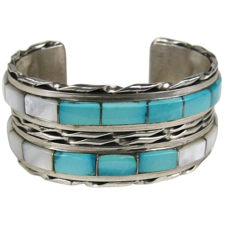 Native American Zuni Sterling Silver Mother Of Pearl And Turquoise