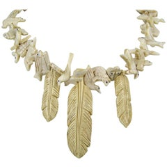 Amazing Hand Carved Zuni 44 Multi animal Bone Fetish Leaf Necklace