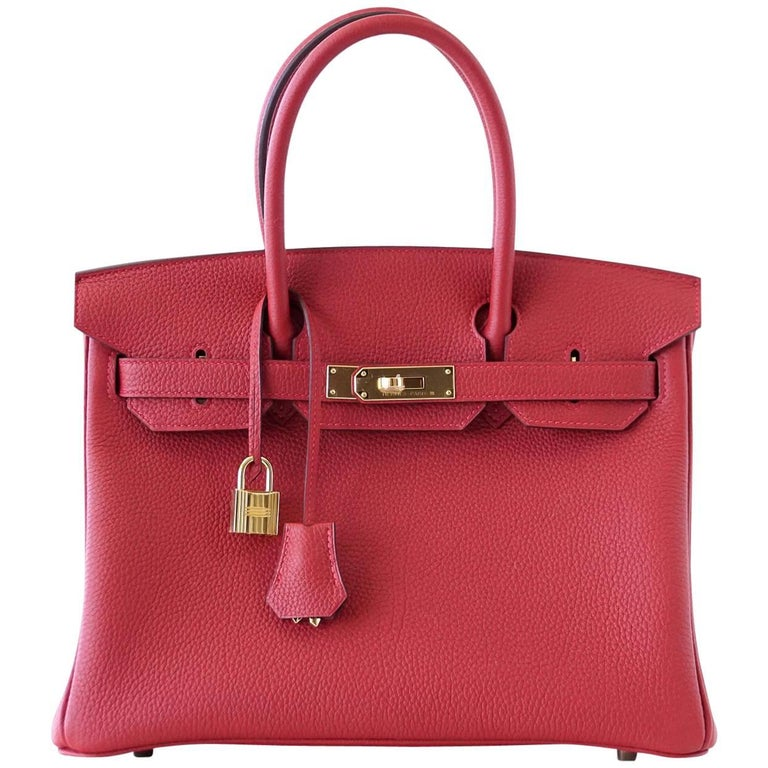Hermes Birkin 30 Bag Rouge Vif Togo Gold Hardware Perfect Lipstick Red