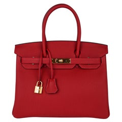 Hermes Birkin 30 Bag Rouge Vif Togo Gold Hardware Perfect Lipstick Red