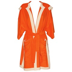 HERMES Orange cotton and silk Bathrobe - New