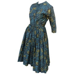 1950's Polished Cotton Shirt Dress With Full Skirt