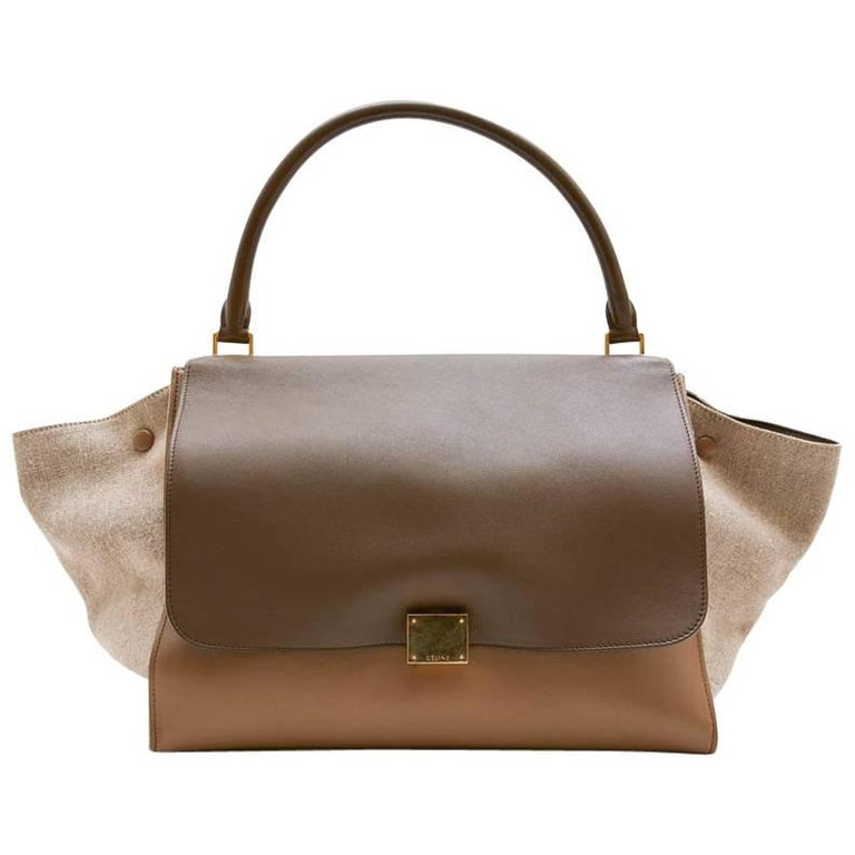 CELINE 'Trapeze' Bag in Beige and Brown leather and Linen