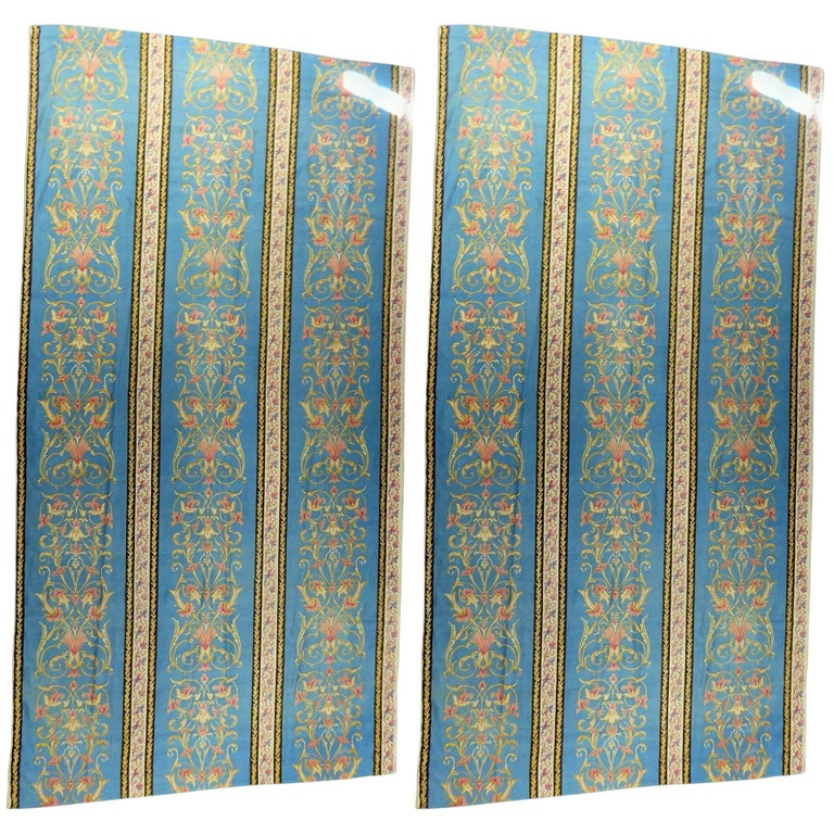 Pair of curtains in printed silk Bourrette - Second French Empire