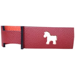 Hermès Petit H Luggage Tag Horse Leather Bag Charm Rouge H Orange