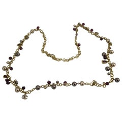 Vintage Chanel Golden Choker Necklace with pearls and charms
