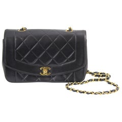 Chanel Black Quilted Lambskin Leather Diana Crosssbody Bag