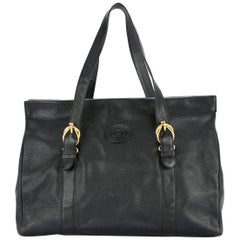 Gucci Black Leather Gold Men's Women's Large Carryall Travel Tote Bag
