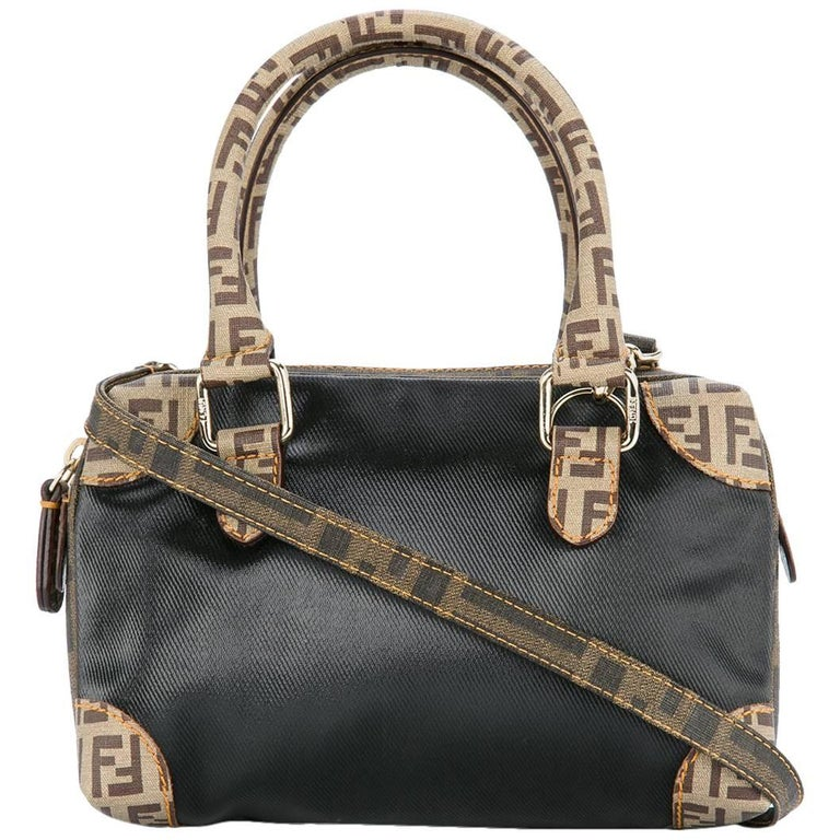 Fendi Monogram Canvas Nylon Micro Top Handle Satchel Speedy Shoulder Bag