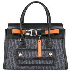 Christian Dior Blue Monogram Kelly Style Carryall Top Handle Satchel Tote Bag