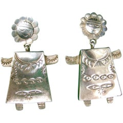 Sterling Figural Mexican Artisan Dangle Earrings circa 1980s