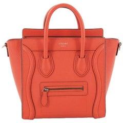Celine Grainy Leather Nano Luggage Handbag