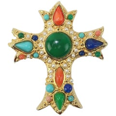 1980's Gold, Pearl & Cabochon Cross Brooch