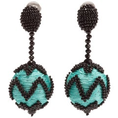 New Oscar de la Renta Blue Beaded Ball Drop Earrings Clip On