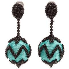 New Oscar de la Renta Blue Beaded Ball Drop Earrings Clip On