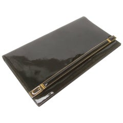 Gucci Italy Sleek Black Patent Leather Clutch Bag, circa 1970s