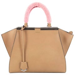 Fendi Leather with Shearling Petite 3Jours Handbag