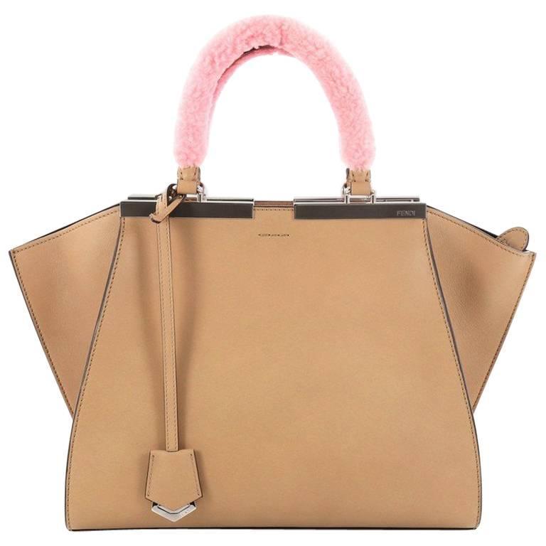 Fendi Leather with Shearling Petite 3Jours Handbag