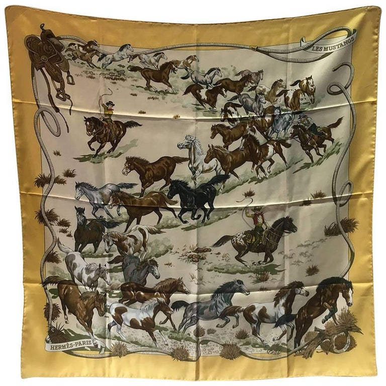Hermes Vintage Mustangs Silk Scarf in Yellow, circa 1993