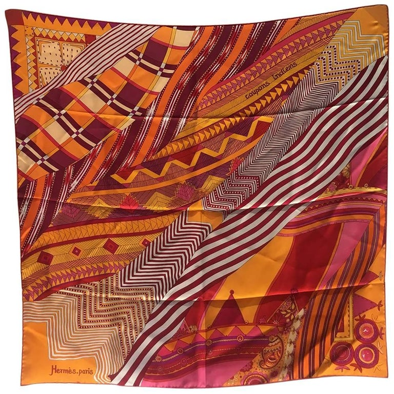 Hermes Coupons Indiens Silk Scarf in Orange, circa 2008 For Sale