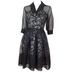 Black Sheer Organza Dress, 1950s