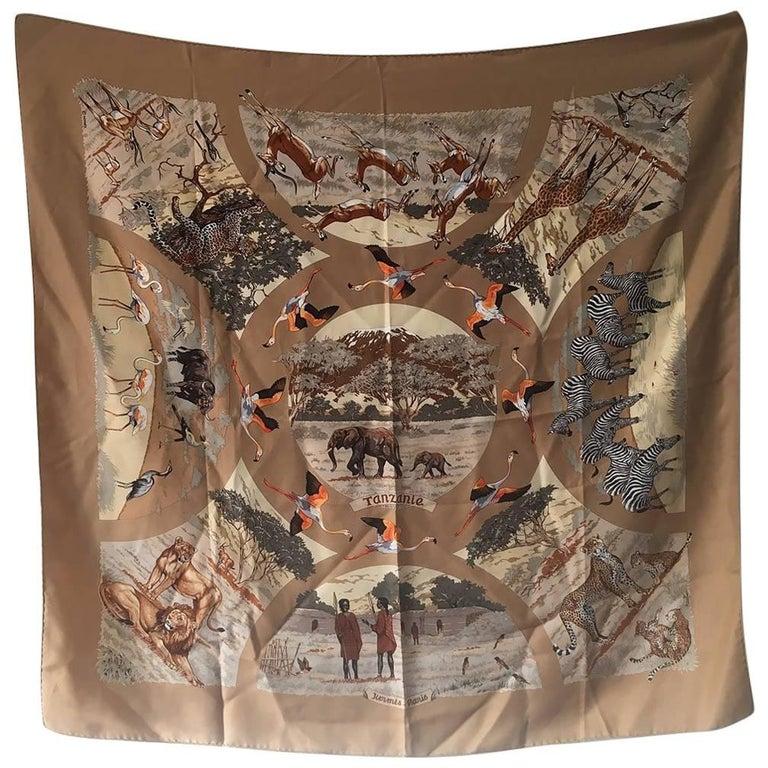Hermes Vintage Tanzanie Silk Scarf c1970s