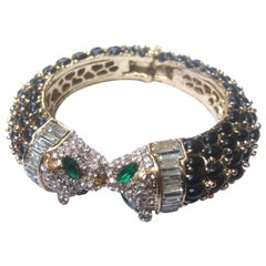 Crystal and Glass Jeweled Panther Bracelet, 21st Century