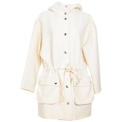 Courreges cream oversized hooded jacket