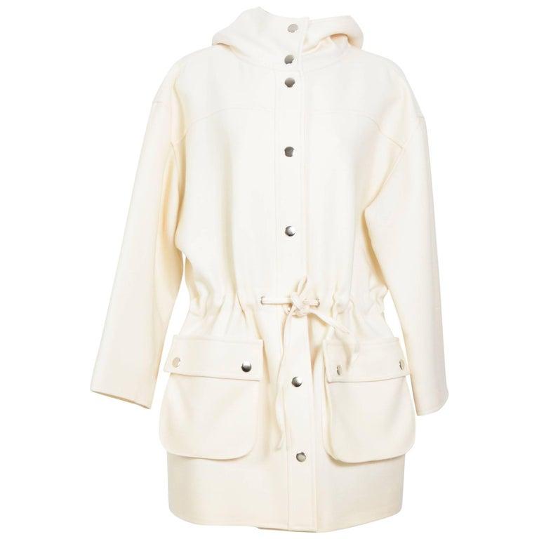 Courreges cream oversized hooded jacket
