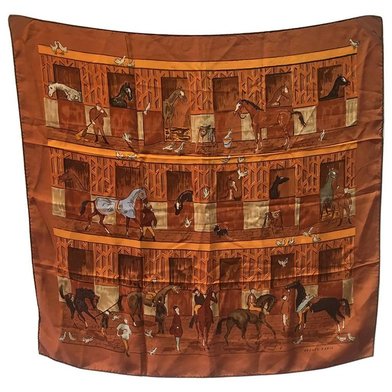 Hermes Les Boxes Silk Scarf, circa 2008 For Sale