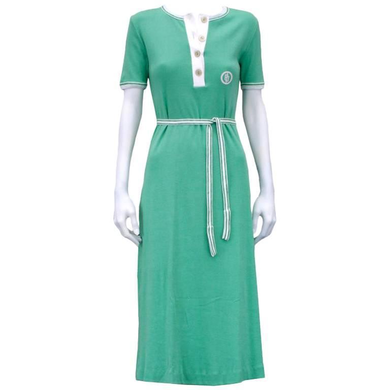 Emilio Pucci Cotton Jersey Mint Green Logo Dress