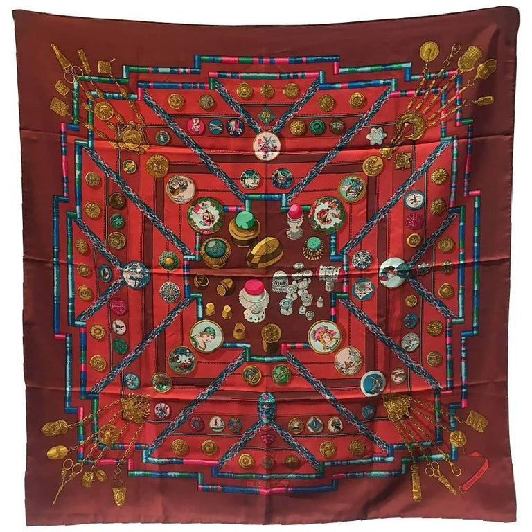 Hermes Vintage Petit Main Silk Scarf in Dark Red, circa 1980s