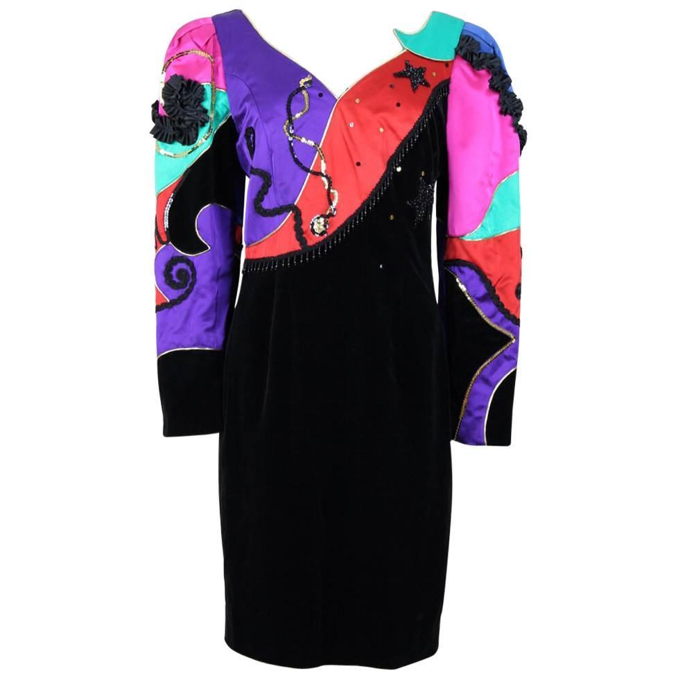 1980s Louis Féraud Black Velvet & Satin Sequin Beads Embellished Cocktail Dress