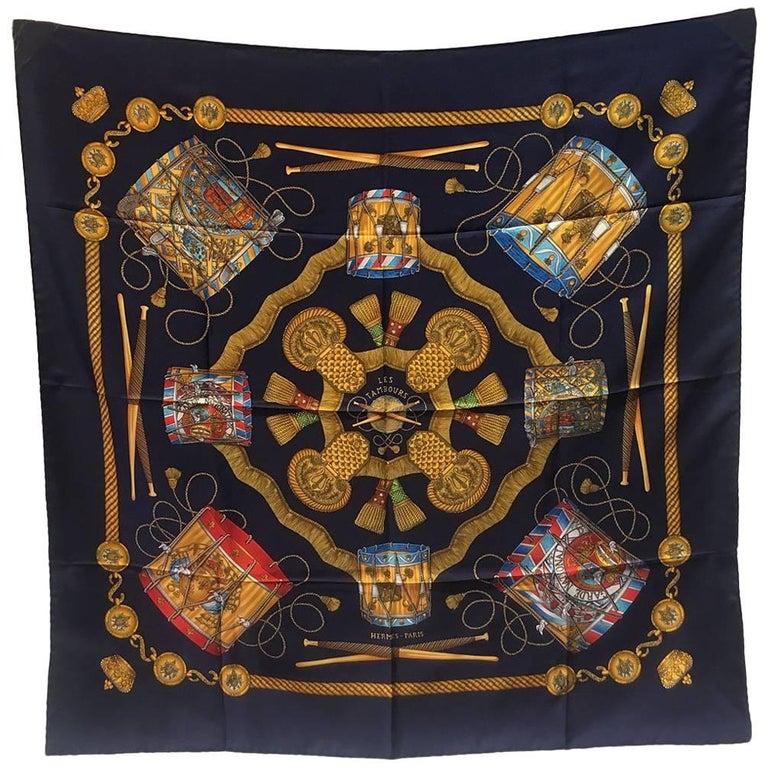 Hermes Vintage Silk Les Tambours Scarf In Navy