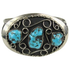 Old Pawn Native American Sterling Silver Navajo 3 Turquoise Cuff Bracelet