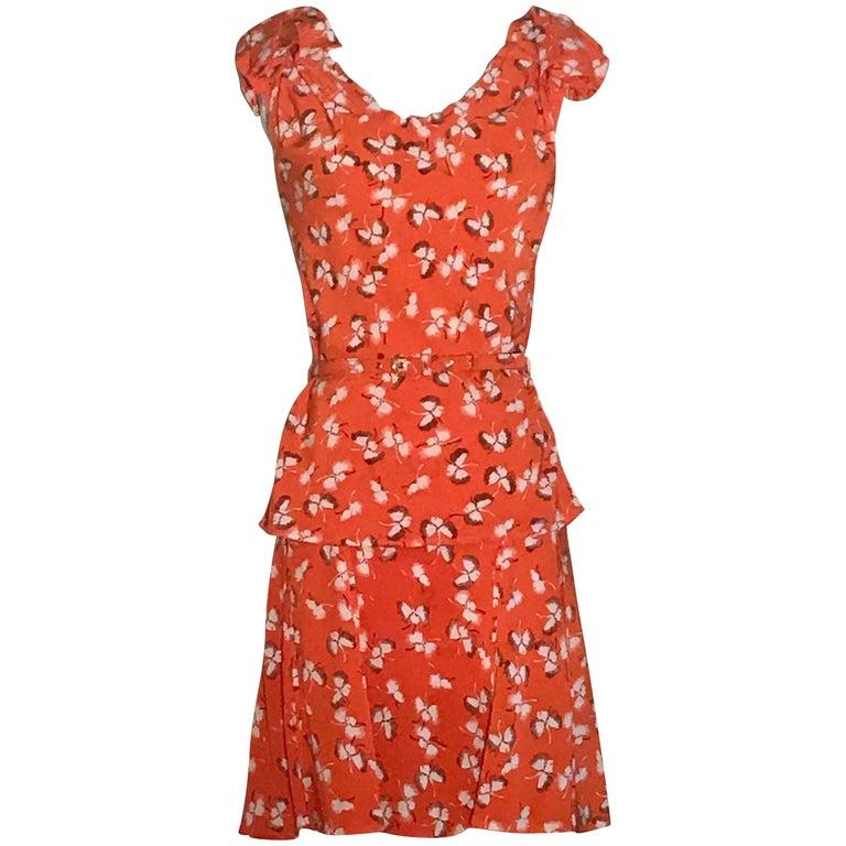 Gucci Orange Silk Floral Skirt Top and Belt Set