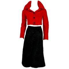 1965 Christian Dior Couture Red Black Broadtail Fur Crop Jacket & Gaucho Pants