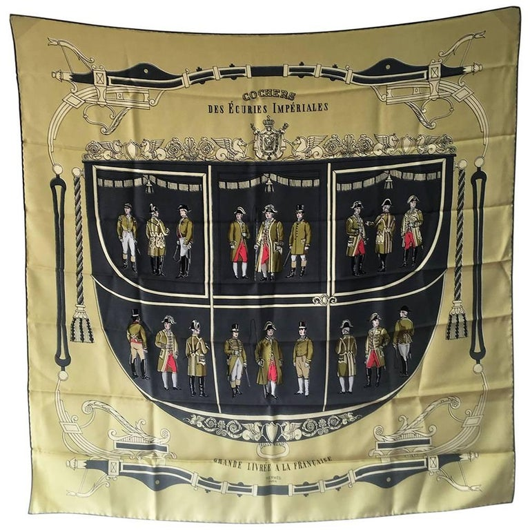 Hermes Cochers des Ecuries Imperiales Silk Scarf, circa 1950s
