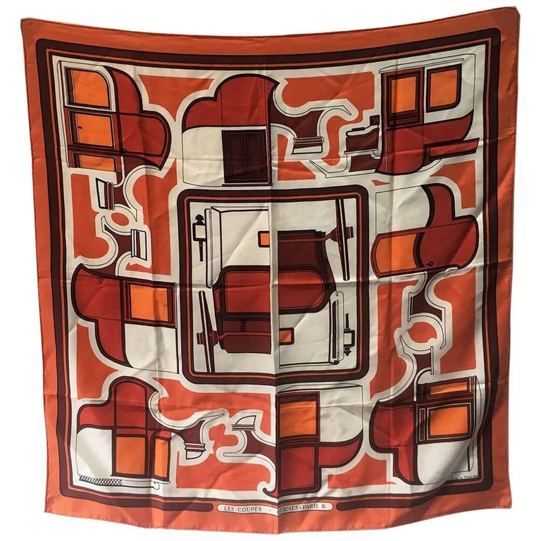 Hermes Vintage Les Coup Silk Scarf in Orange, circa 1970s