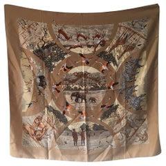 RARE Hermes Vintage Tanzanie Silk Scarf in Tan c1970s