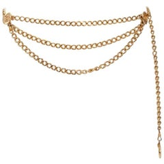 1984 Chanel Goldtone Triple Chain Belt