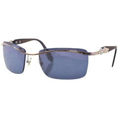 Kieselstein-Cord Black Super Star Mirrored Sunglasses with Case