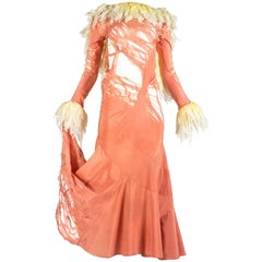 John Galliano distressed silk crepe de chine bias cut evening dress, ss 1992