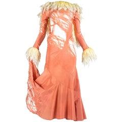 John Galliano distressed silk crepe de chine bias cut evening dress, ss 1992