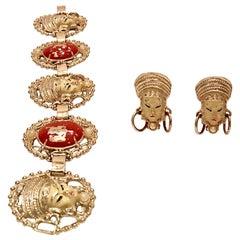 "Mid-Century ""Asian Princess"" Gold, Cinnabar & Faux Ivory Bracelet & Earrings S/3"