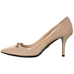 Prada Nude Patent Leather Pumps Sz 38.5 with DB