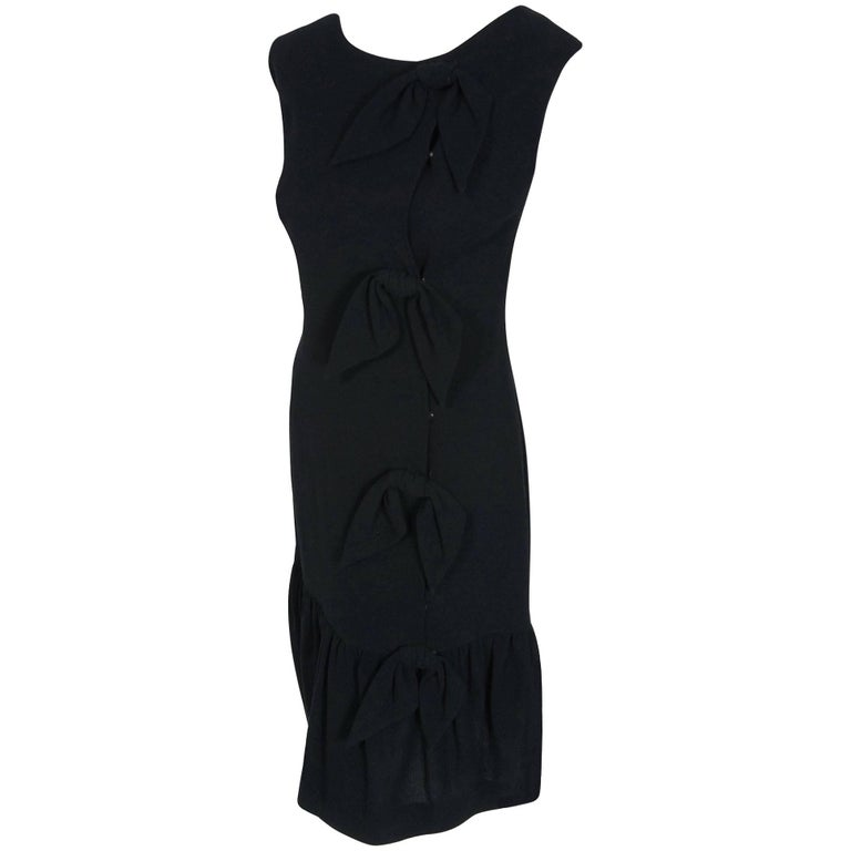 1957 Balenciaga Haute-Couture Black Wool Bow Trimmed Flounce Cocktail Dress