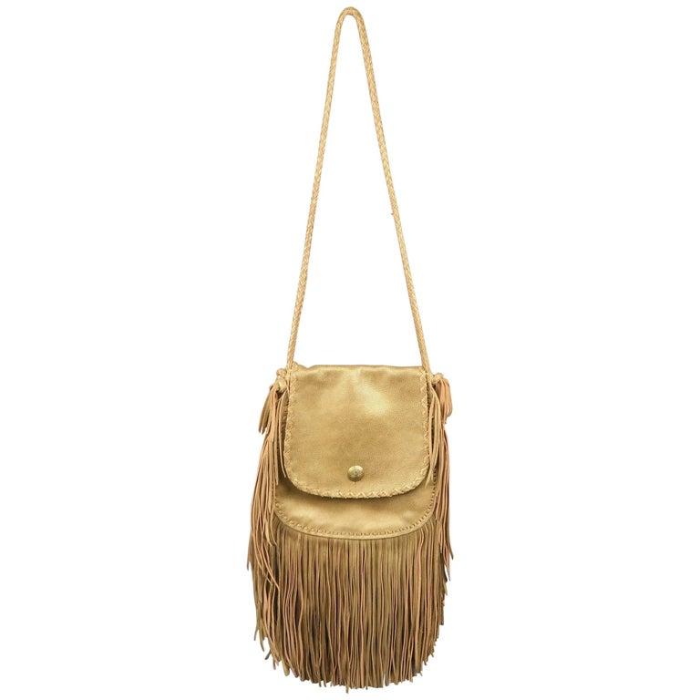 Ralph Lauren Metallic Gold Leather Fringe Cross Body Handbag For